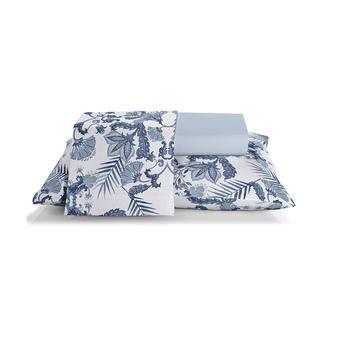 Jogo de cama casal Prata 150 Fios 100% algodão Dandy 2 estampado Azul - Santista