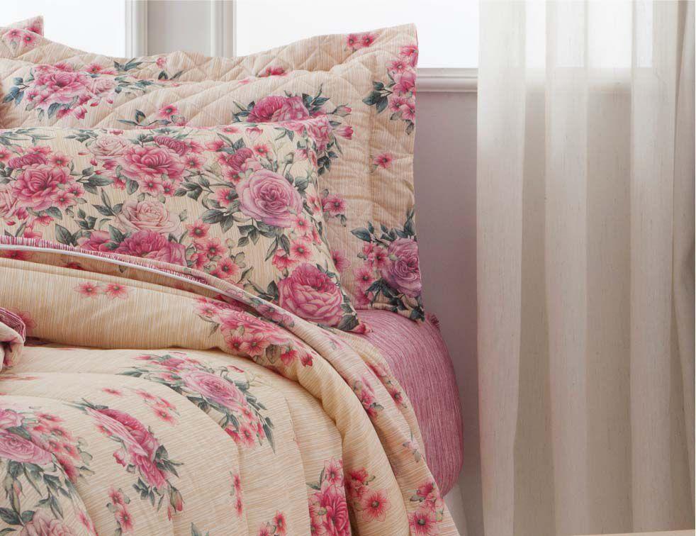 Jogo de cama casal duplo Helena 140 fios - Realce Premium