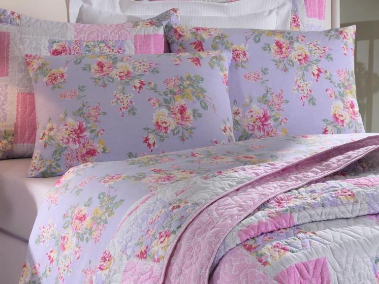 Jogo de cama casal Prata 150 Fios 100% algodão Jully 1 estampado rosas lilás - Santista