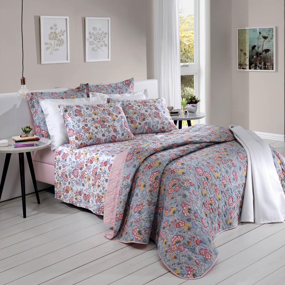 Jogo de cama casal Prata 150 Fios 100% algodão Leonora estampado floral - Santista