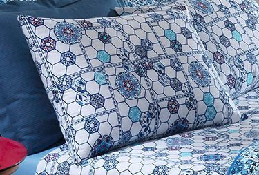 Jogo de cama casal  Prata 150 Fios 100% algodão Ludmila estampado Geométrico Floral - Santista