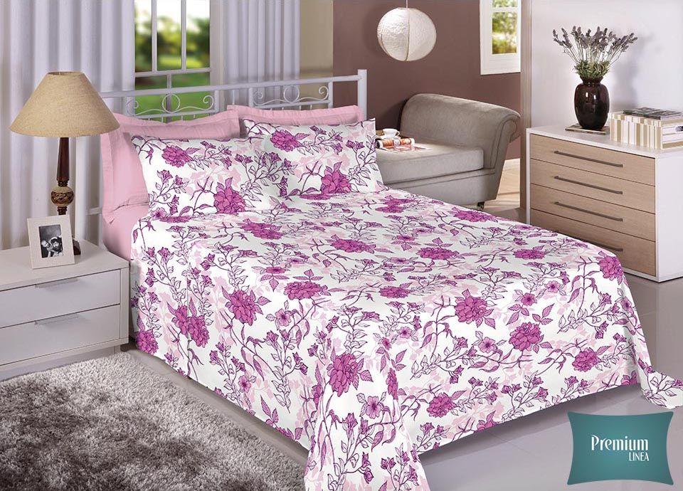 Jogo de cama casal Percal 100% Algodão 180 Fios - Premium Line Estamparia - 7228-1