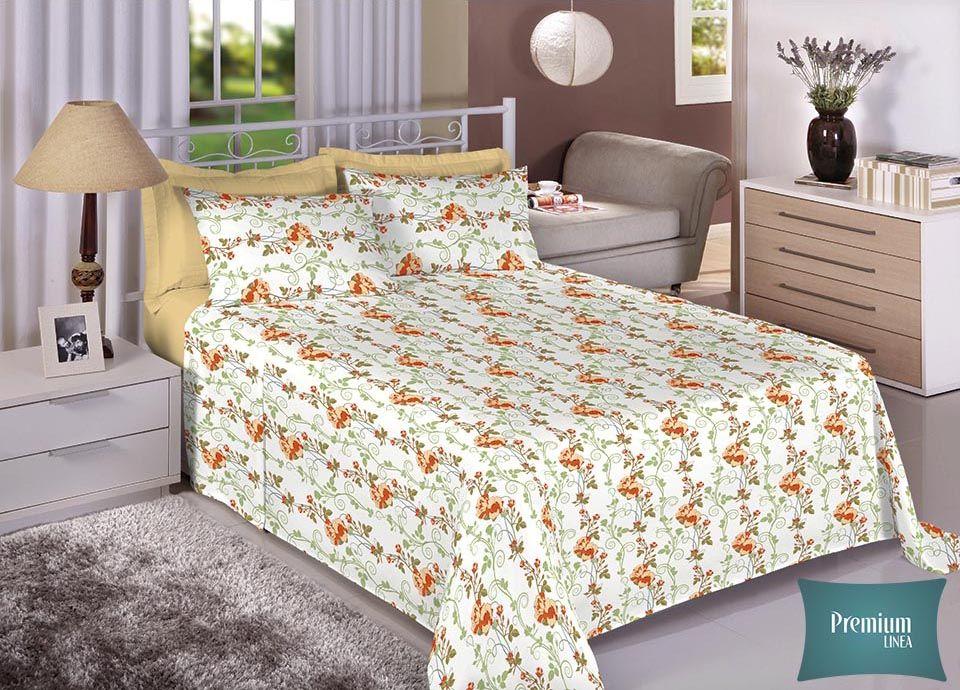 Jogo de cama casal Percal 100% Algodão 180 Fios - Premium Line Estamparia - 7233-1