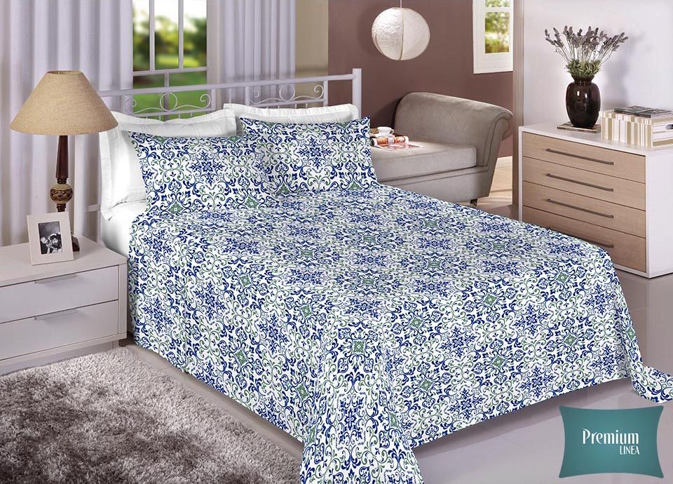 Jogo de cama casal Percal 100% Algodão 180 Fios - Premium Line Estamparia - 7294
