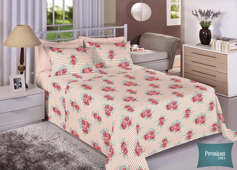 Jogo de cama casal Percal 100% Algodão 180 Fios - Premium Line Estamparia - 7296