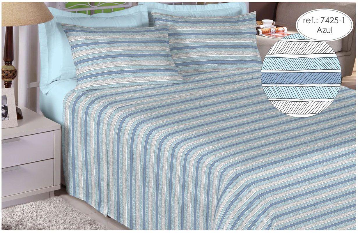 Jogo de cama casal 150 fios 100% algodão estampado azul com listras 7425-1