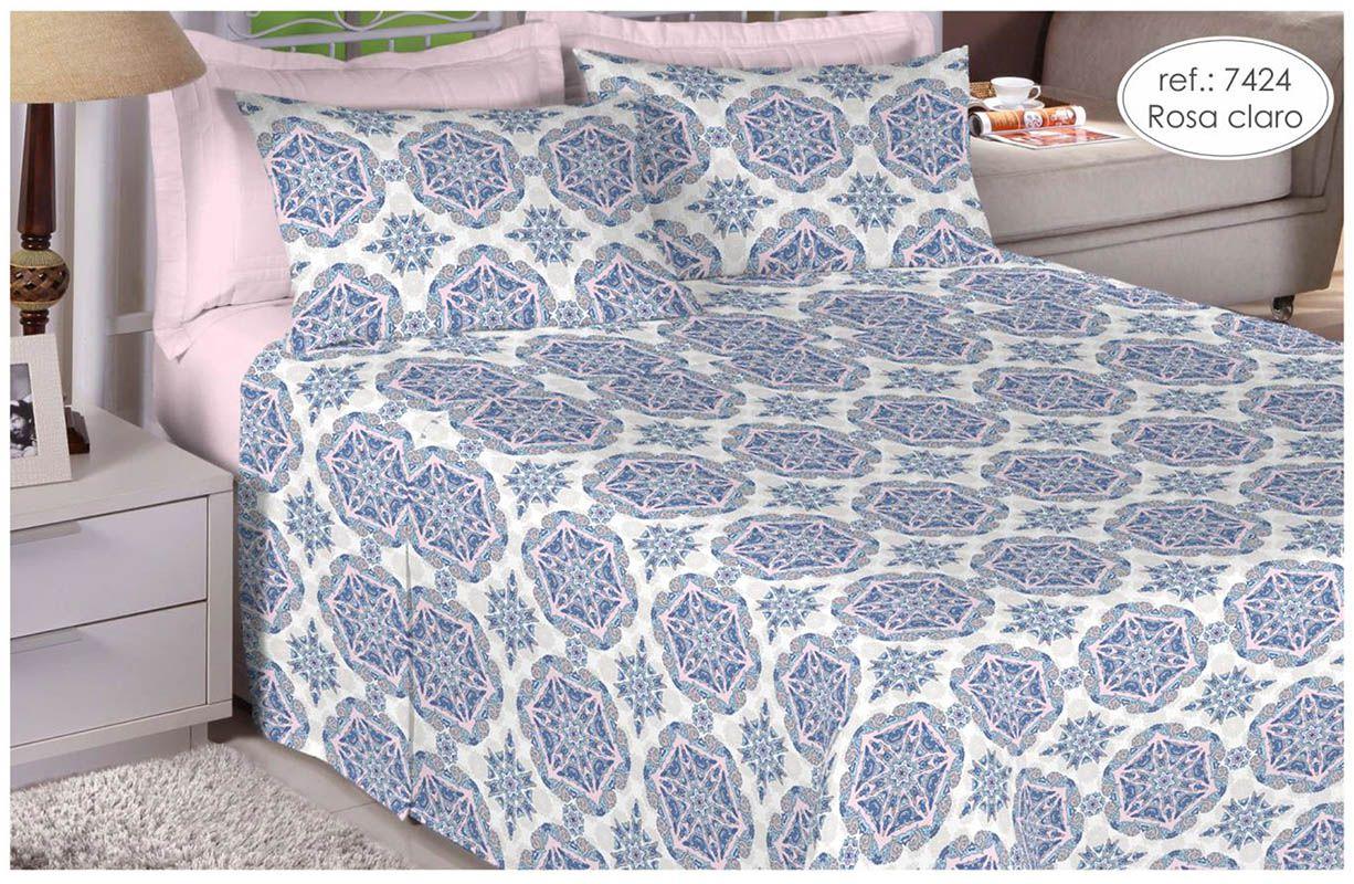 Jogo de cama casal 150 fios 100% algodão estampado - rosa claro 7424