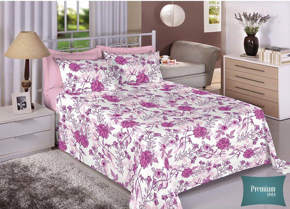 Jogo de cama de casal Percal 180 fios - 100% algodão Premium - Rosa Escuro 7228-1