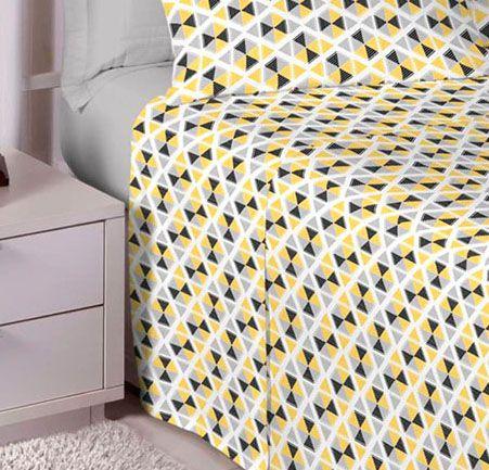 Jogo de cama casal Percal 200 fios 100% algodão estampado - Cinza 7412-1