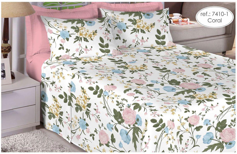 Jogo de cama casal Percal 200 fios 100% algodão estampado - Coral 7410-1