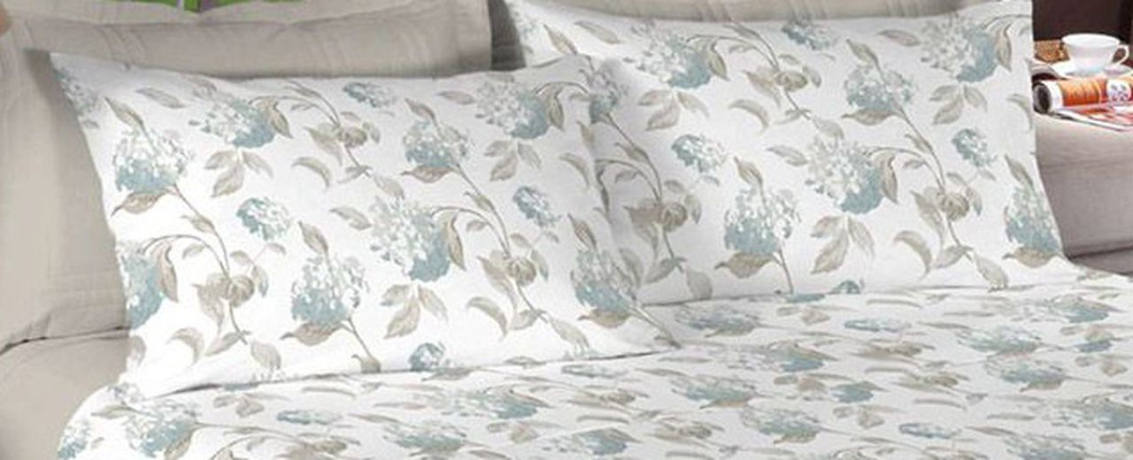 Jogo de cama casal Percal 200 fios 100% algodão estampado - Kaki com Flores