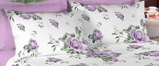 Jogo de cama casal Percal 200 fios 100% algodão estampado - Lilás 7414-1