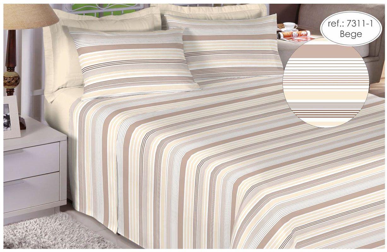 Jogo de cama de casal Percal 200 fios 100% algodão estampado Bege Listrado