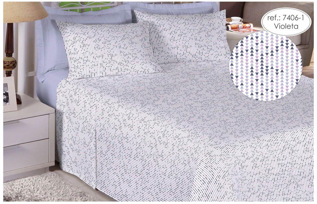 Jogo de cama de casal Percal 200 fios 100% algodão estampado Violeta Geométrico 7406-1