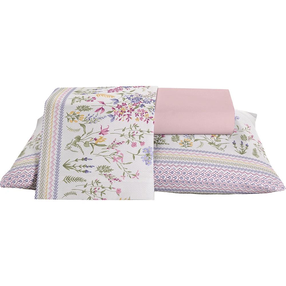 Jogo de cama casal Prata 150 Fios 100% algodão Bloom estampado rosa - Santista