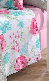 Jogo de cama casal Prata 150 Fios 100% algodão Esther estampado Rosa - Santista