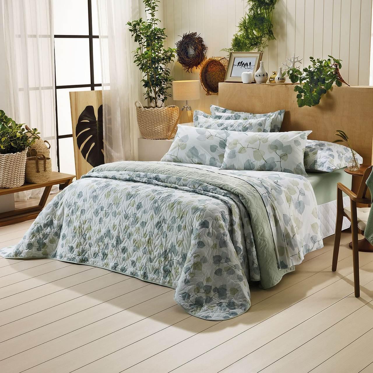 Jogo de cama casal Prata 150 fios 100% algodão Foret estampado verde - Santista