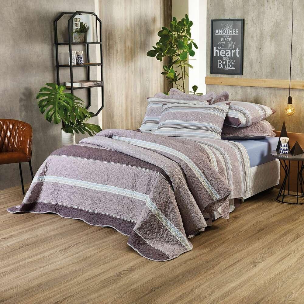 Jogo de cama casal Prata 150 fios 100% algodão Pietro estampado Bege - Santista