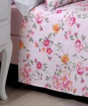 Jogo de cama casal Prata 150 Fios 100% algodão Mariah estampado rosa floral - Santista