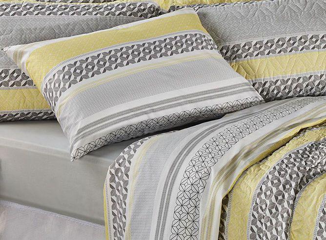 Jogo de cama casal Prata 150 Fios 100% algodão Miguel 1 estampado Cinza - Santista