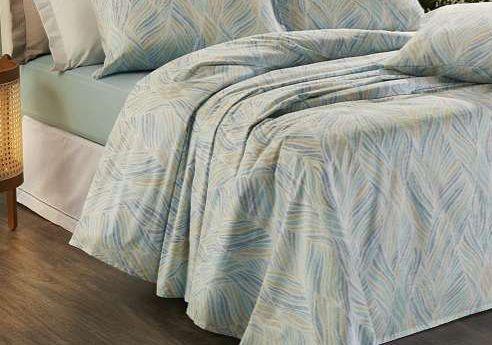 Jogo de cama casal Prata 150 Fios 100% algodão Shell estampado Azul - Santista