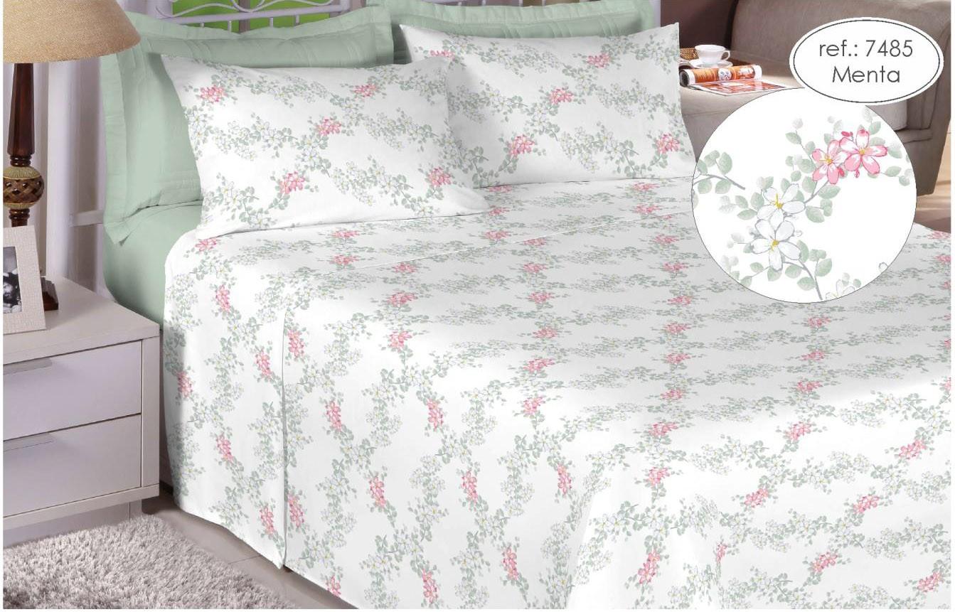 Jogo de cama casal Premium 200 fios 100% algodão 7485 Menta