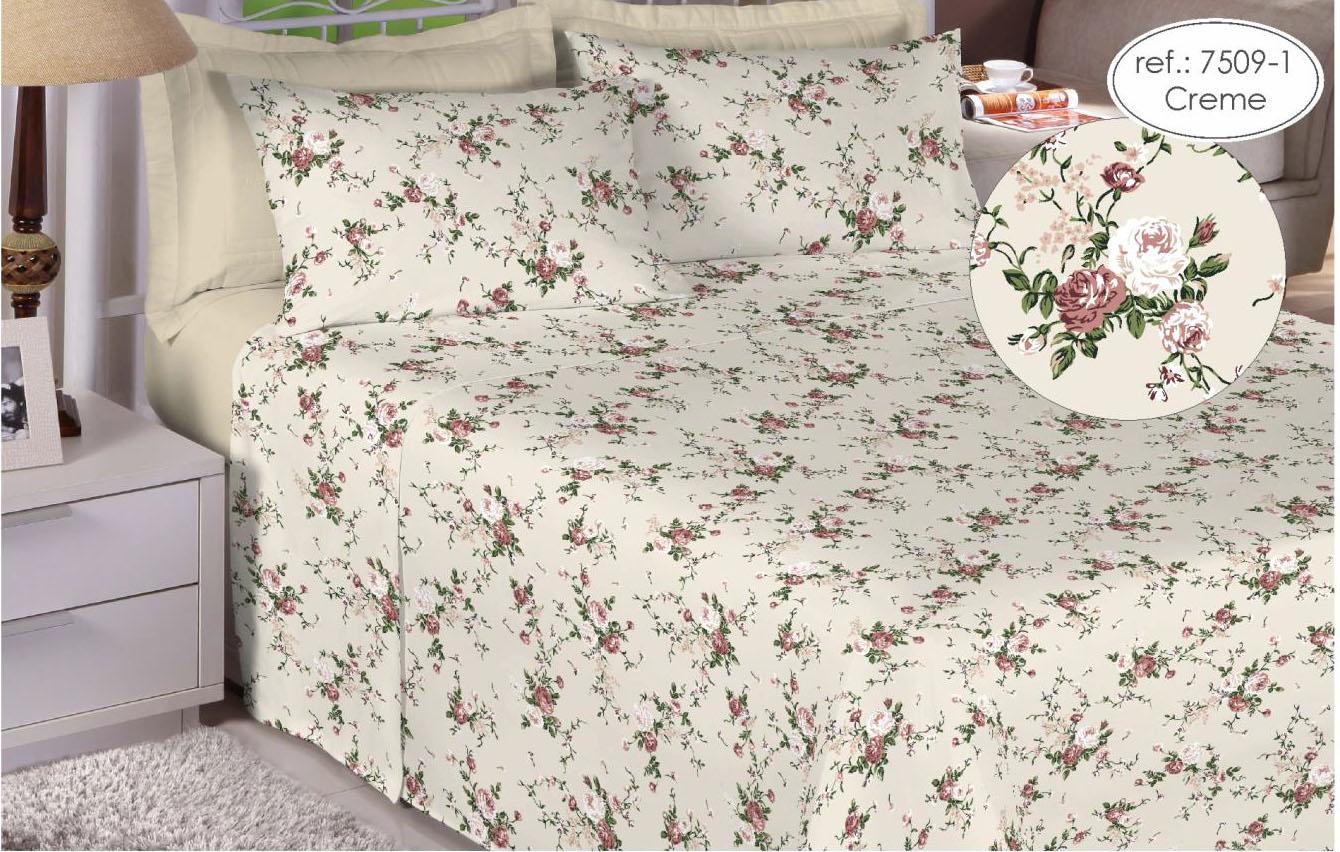 Jogo de cama casal Premium 200 fios 100% algodão 7509-1 Creme