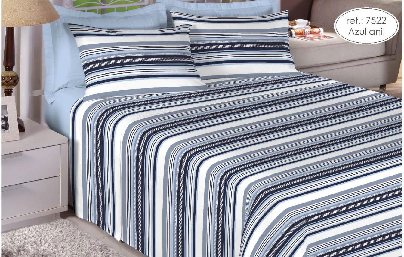 Jogo de cama casal Premium 200 fios 100% algodão 7522 Azul Anil