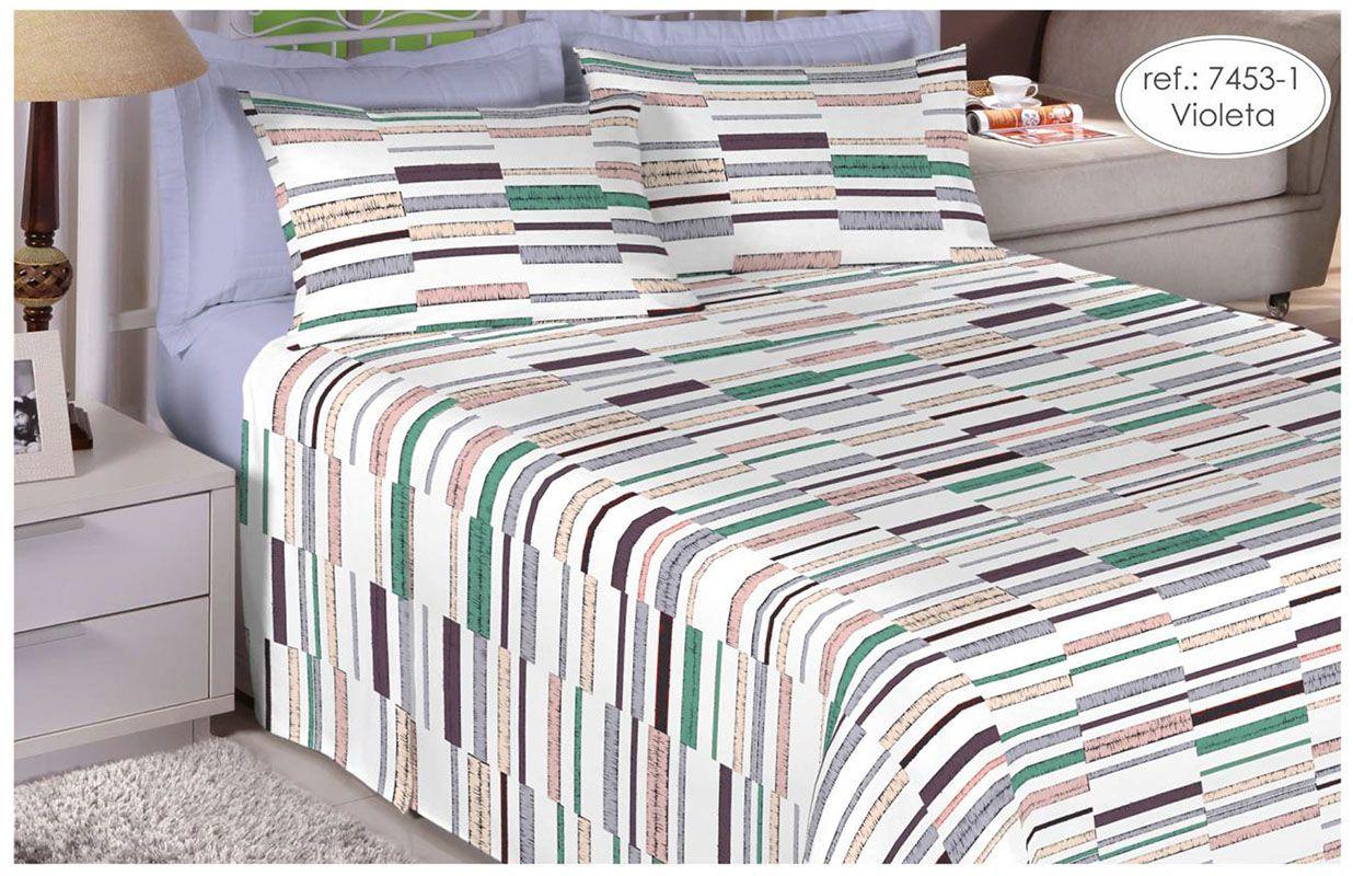Jogo de cama de casal queen size - 100% algodão Premium Plus - Violeta 7453-1