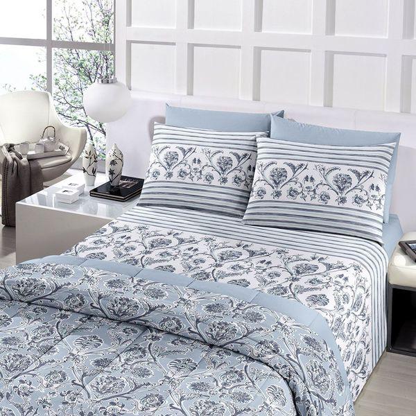 jogo de cama casal Royal 100% algodão Asturias estampado azul - Santista