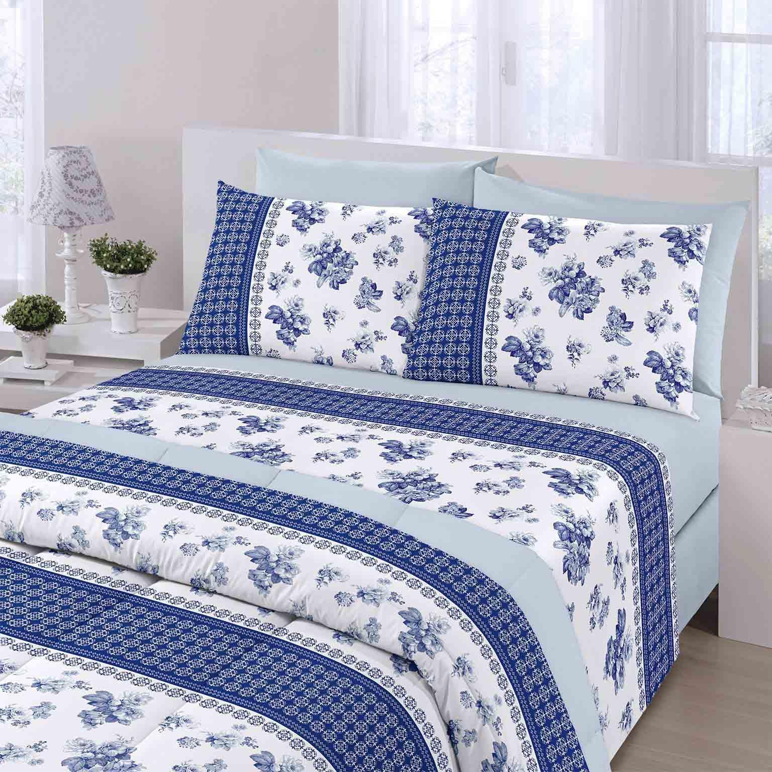 Jogo de cama casal Royal Beth 1 100% algodão estampado Floral Azul - Santista