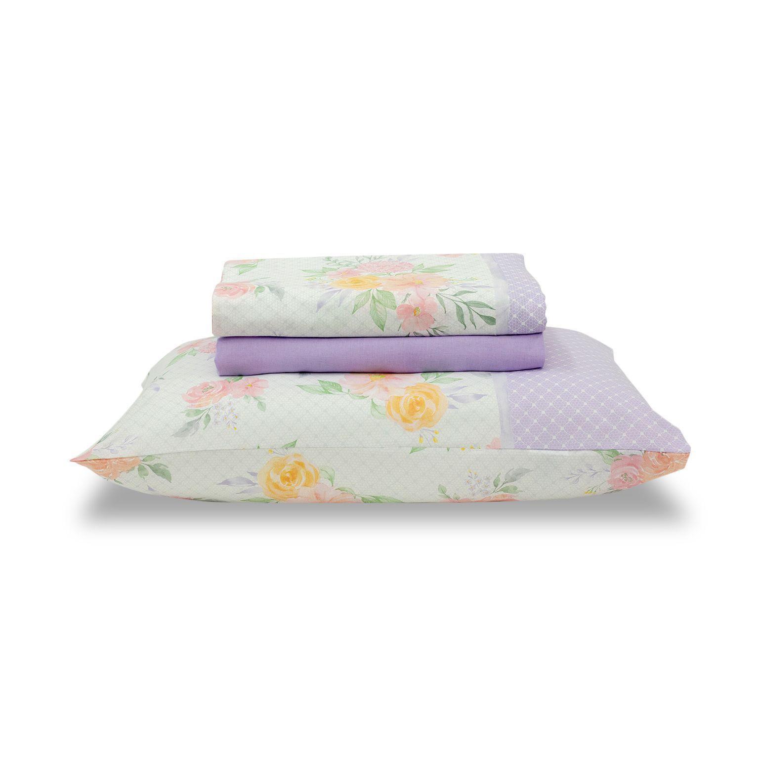 Jogo de cama casal Royal Heloisa 1 100% algodão estampado Poá e Floral - Santista
