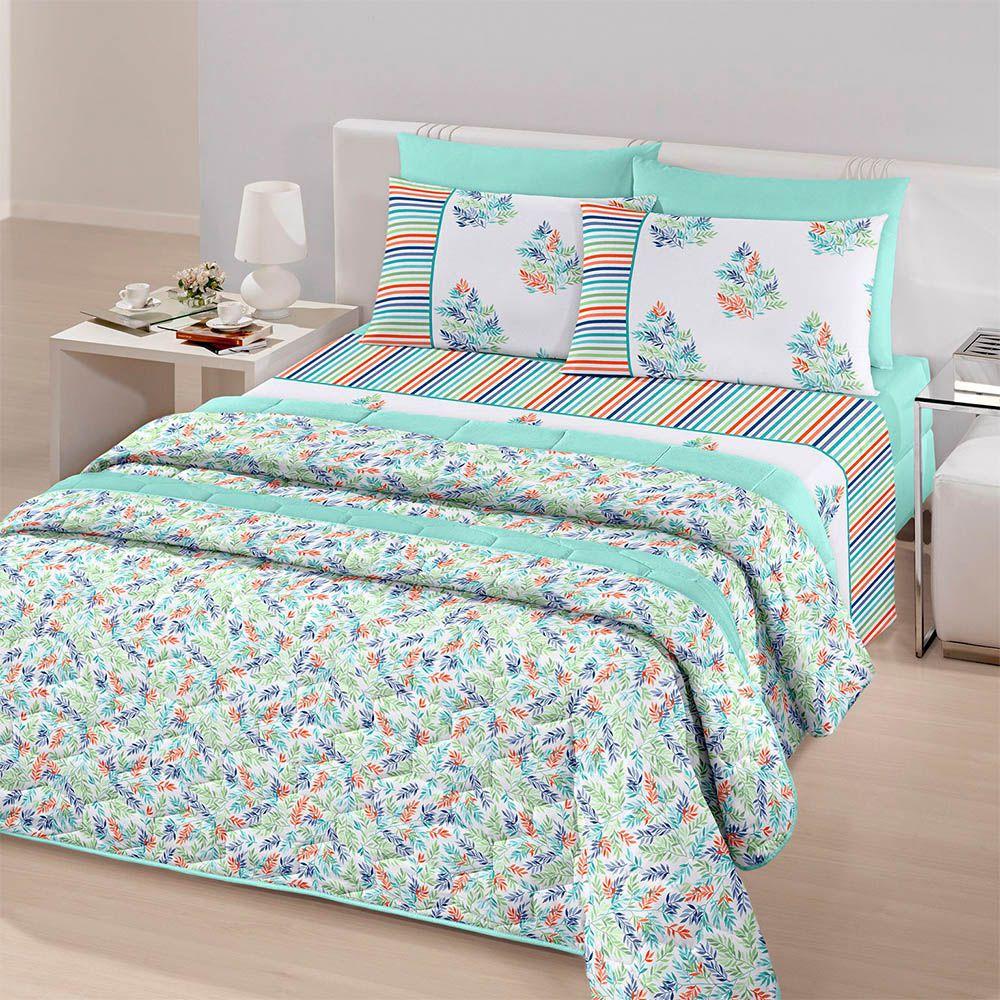 Jogo de cama casal Royal Herbal 1 100% algodão estampado Folhagem - Santista
