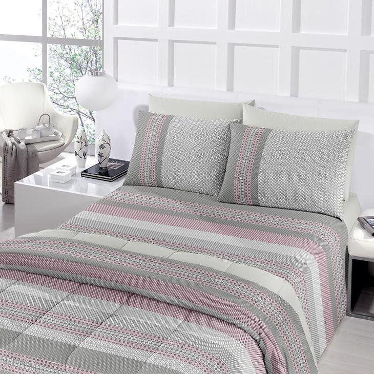Jogo de cama casal Royal Julio 1 100% algodão estampado Cinza - Santista