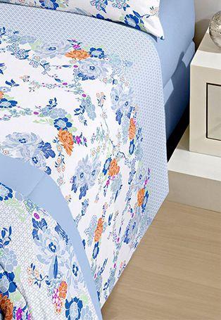 Jogo de cama casal Royal Laila 100% algodão estampado florido - Santista