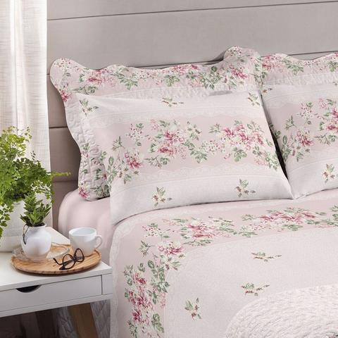 Jogo de cama casal Royal Luara Rosa 100% algodão estampado - Santista