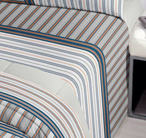 Jogo de cama casal Royal Luis 1 100% algodão estampado Listras - Santista