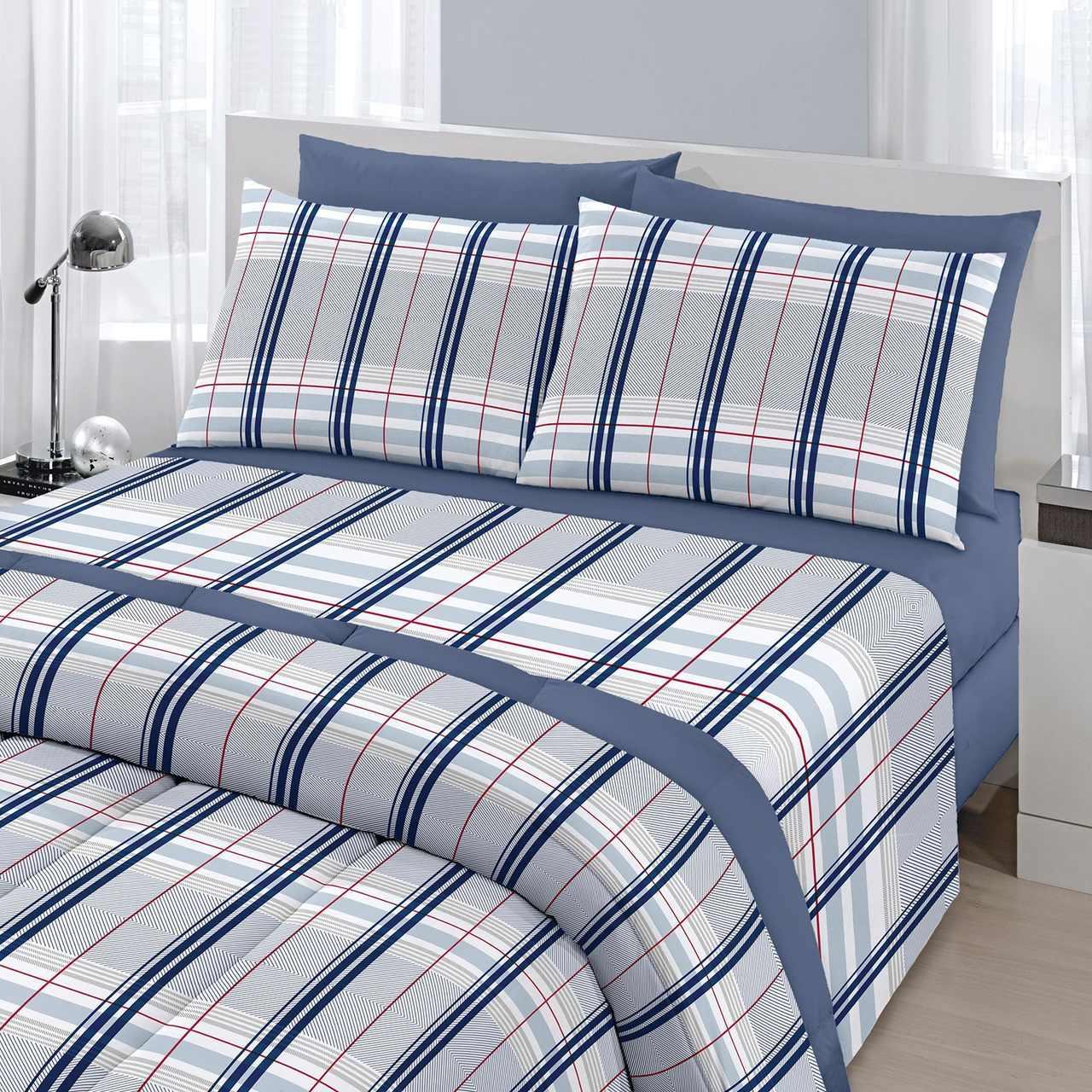 jogo de cama casal Royal Madras 100% algodão estampado azul - Santista