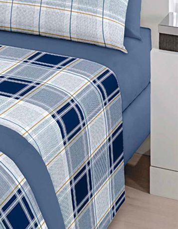 Jogo de cama casal Royal Matias 1 100% algodão estampado Xadrez - Santista