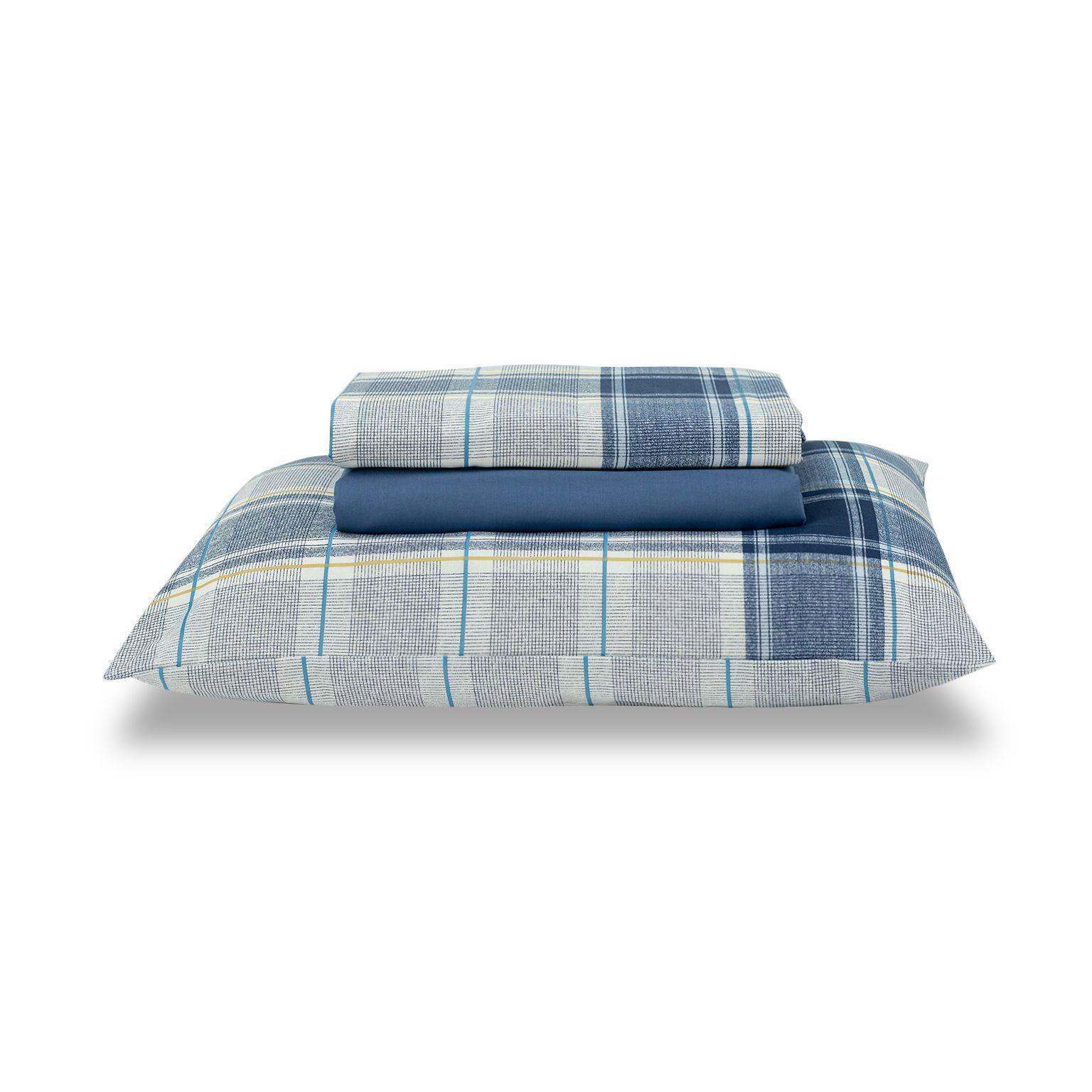 Jogo de cama solteiro Royal Matias 1 100% algodão estampado Xadrez - Santista