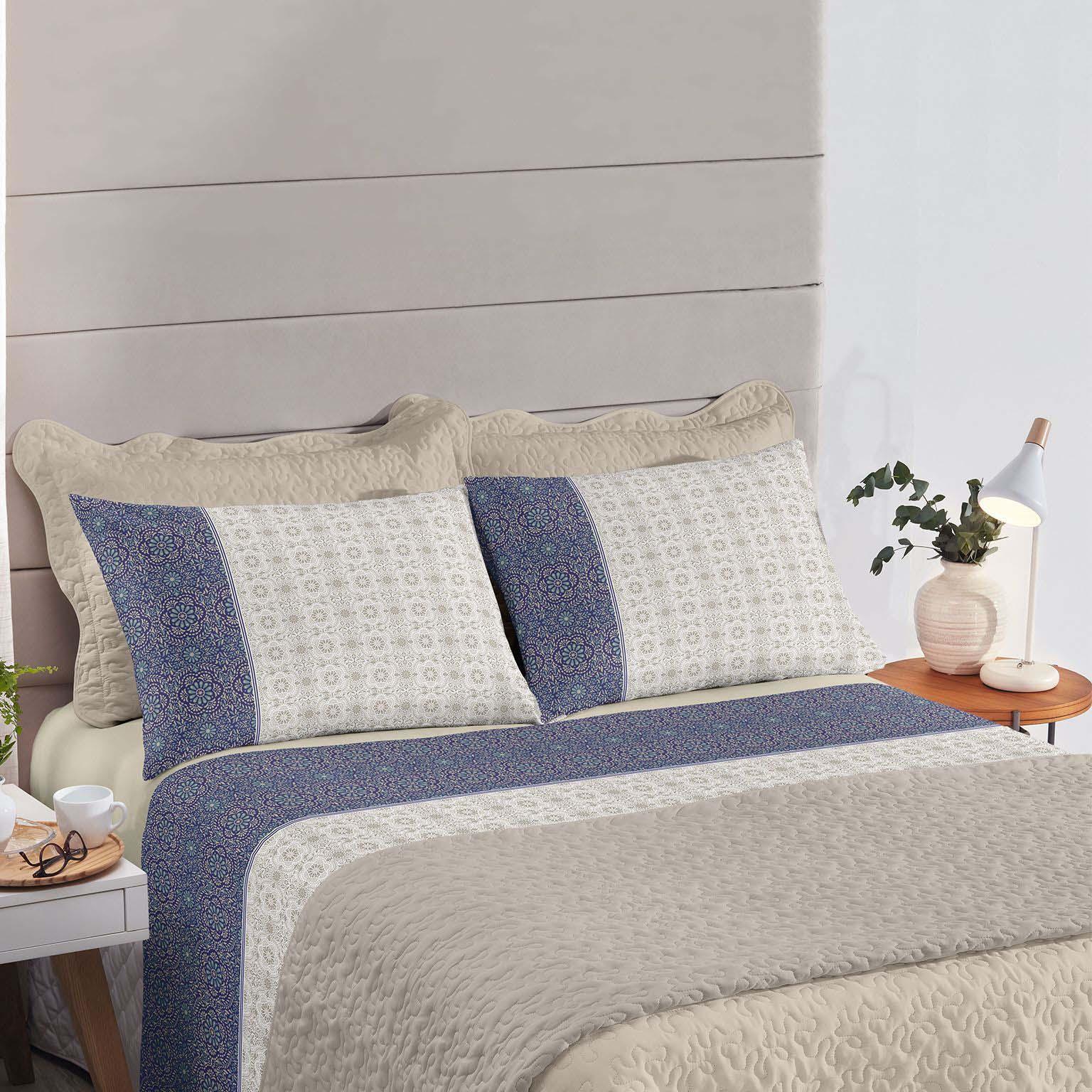 Jogo de cama casal Royal Milão 100% algodão estampado Floral Indiano - Santista