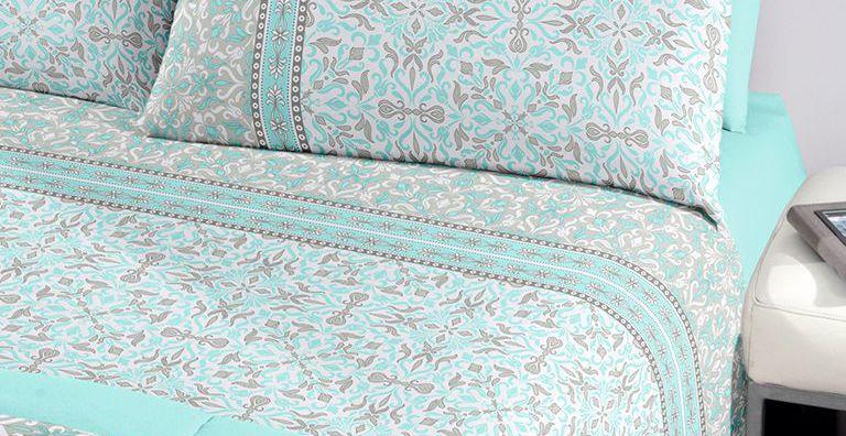 Jogo de cama casal Royal Sabine 1 100% algodão estampado Arabesco - Santista