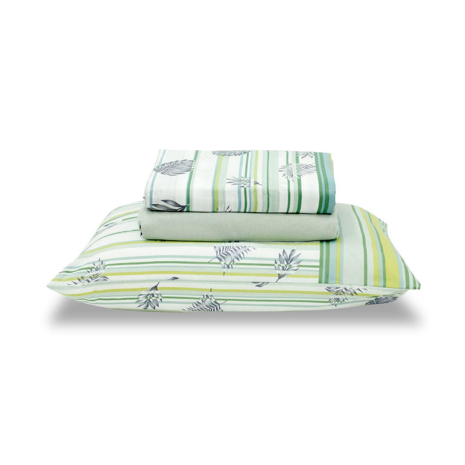 Jogo de cama casal Royal Yure 1 100% algodão estampado Verde com Folhas - Santista