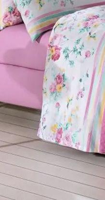 Jogo de cama casal Prata 150 Fios 100% Algodão Stella estampado floral com listras - Santista