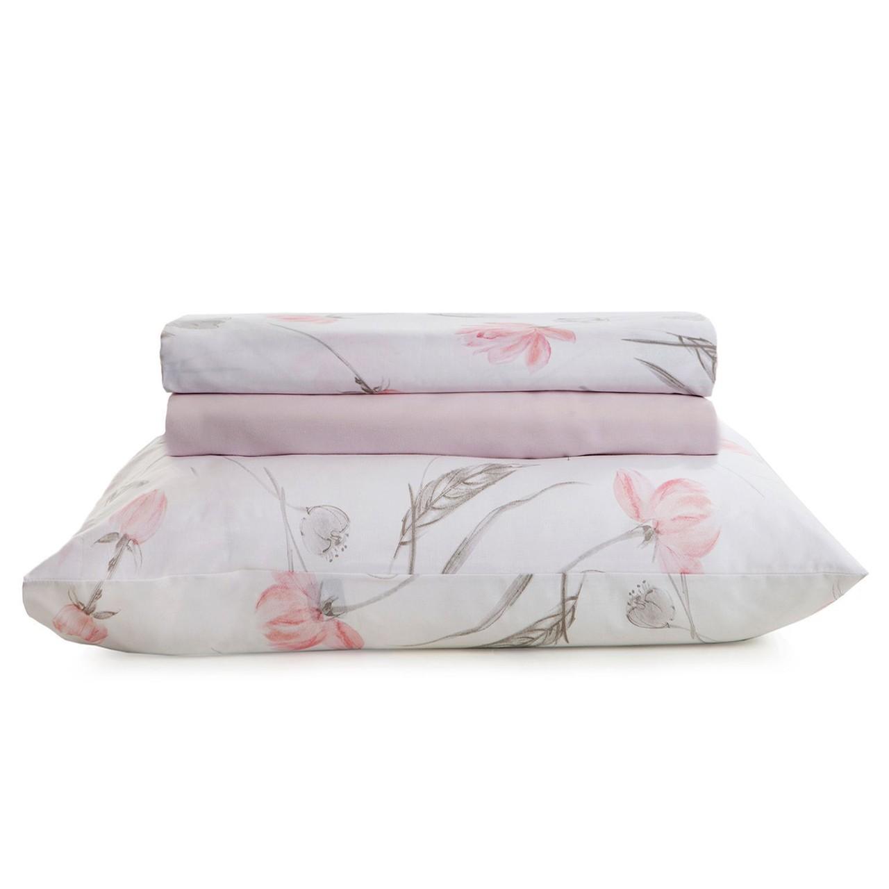 Jogo de cama casal unique 180 fios 100% algodão Nívia estampado rosa - Santista