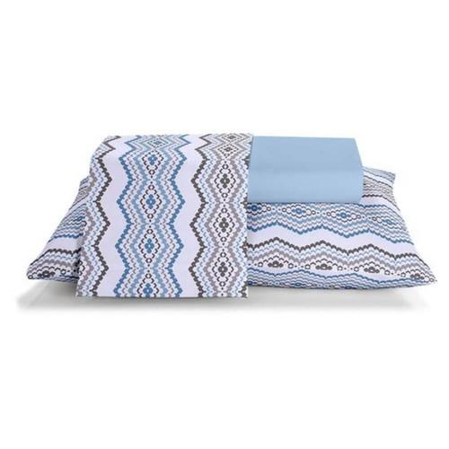 Jogo de cama casal unique 180 fios 100% algodão Phuket estampado azul - Santista