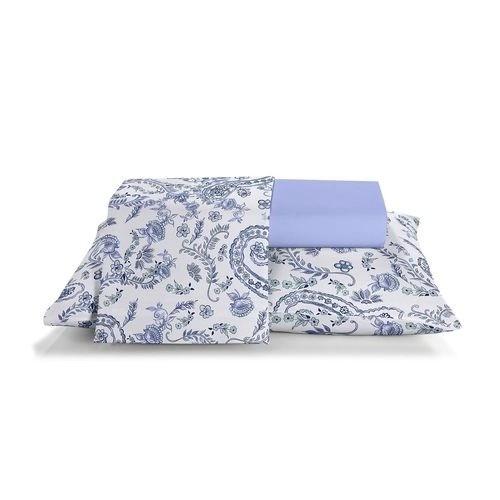 Jogo de cama casal unique 180 fios 100% algodão Sara estampado azul - Santista