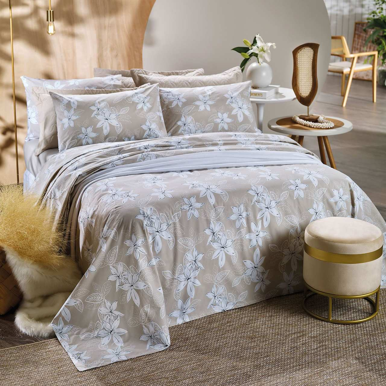 Jogo de cama queen unique 180 fios 100% algodão Valley estampado bege - Santista