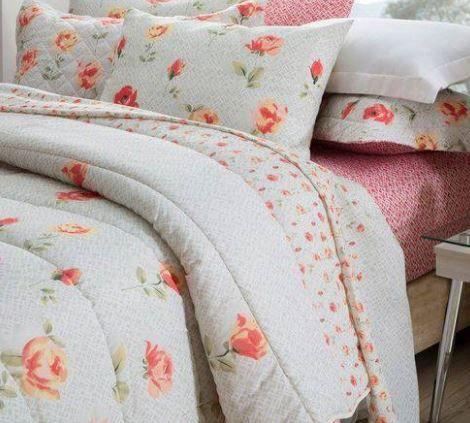 Jogo de cama de casal duplo Marina 140 fios - Realce Premium