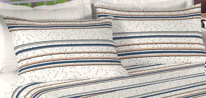 Jogo de cama casal Percal 180 fios 100% algodão estampado -Pérola 7439